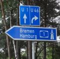 Wegweiser zur Bundesautobahn 1 (Hansalinie)